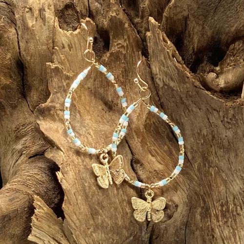 Worn Gold & Mint Bead Butterfly Charm Earrings