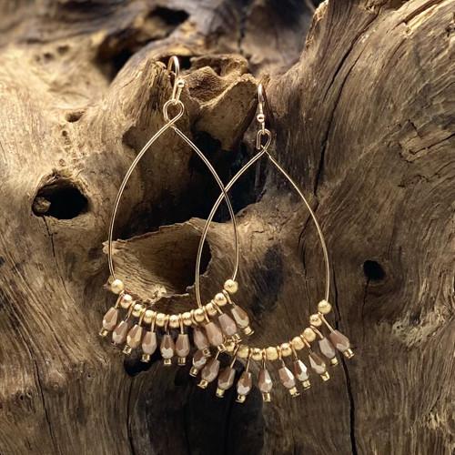 Worn Gold & Brown (Taupe) Bead Teardrop Earrings