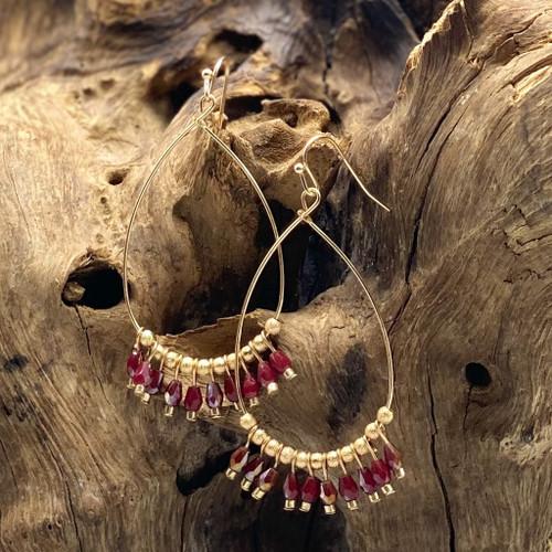 Worn Gold & Burgundy Bead Teardrop Earrings