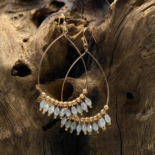 Worn Gold & White Bead Teardrop Earrings