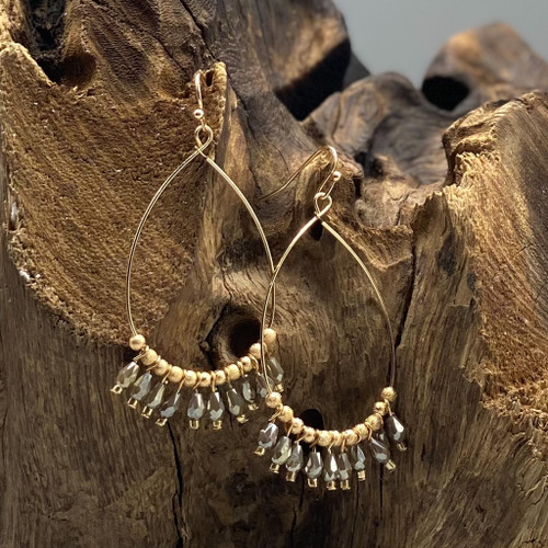 Worn Gold & Grey Bead Teardrop Earrings
