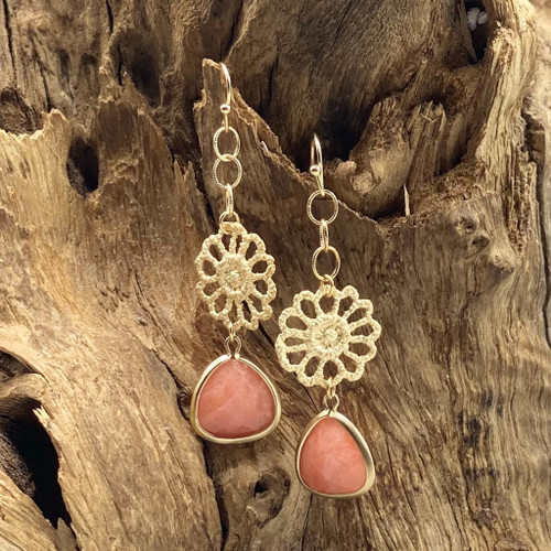 Gold Flower & Coral Stone Earrings