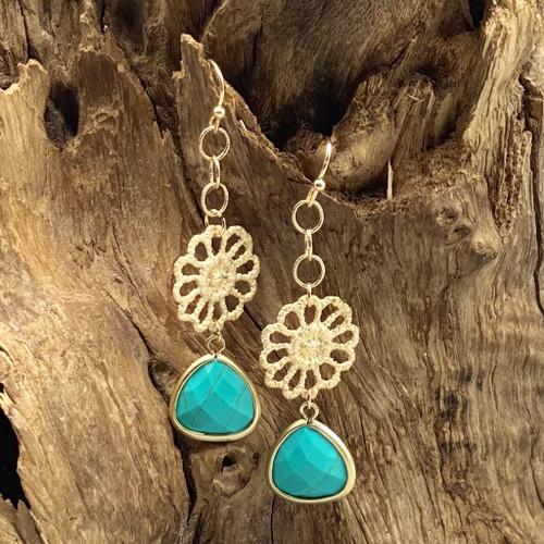 Gold Flower & Turquoise Earrings