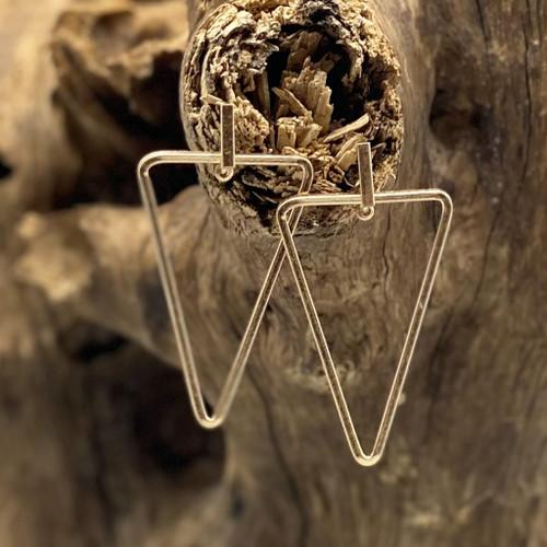 Worn Gold Geometric Triangle Earrings