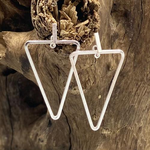 Worn Silver Geometric Triangle Earrings