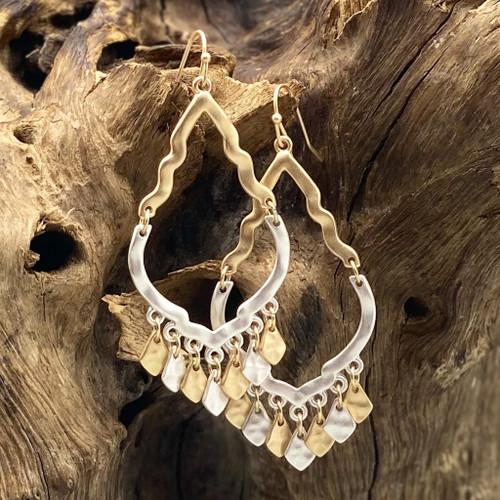 Matte Gold & Silver Quatrefoil Fringe Earrings