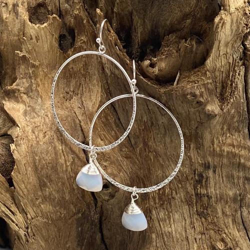 Worn Silver & White Stone Round Earrings