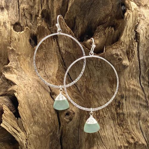 Worn Silver & Mint Stone Round Earrings