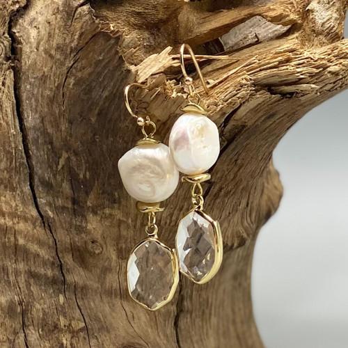 Clear Crystal & Freshwater Pearl Earrings