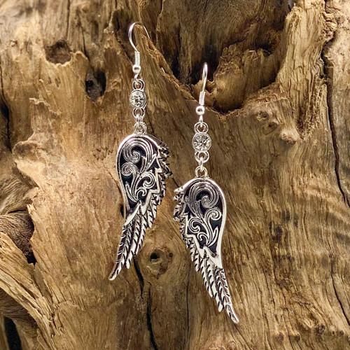 Worn Silver & Crystal Angel Wings Earrings