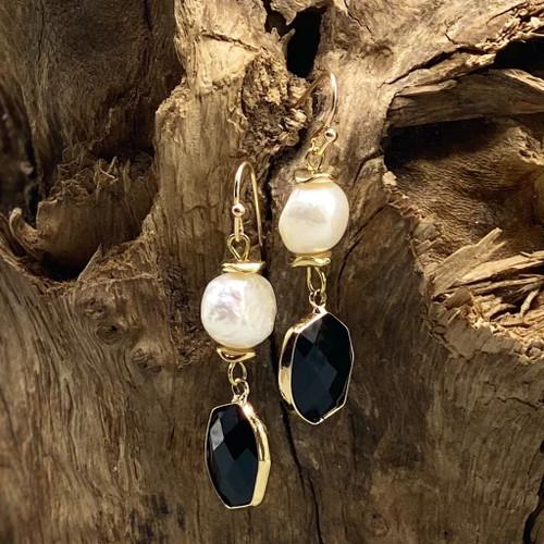 Black Crystal & Freshwater Pearl Earrings