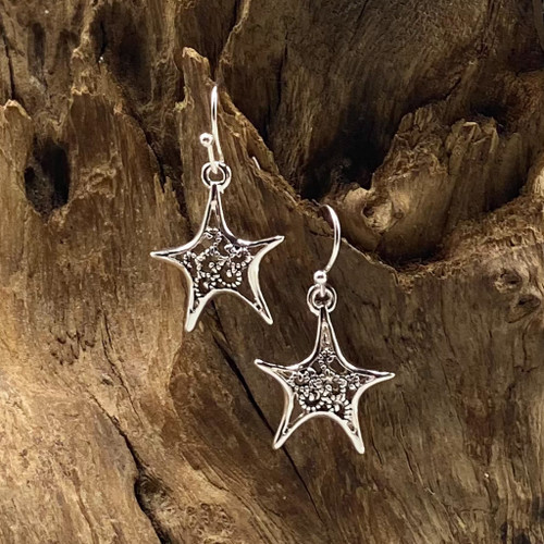 Antique Silver Starfish Earrings