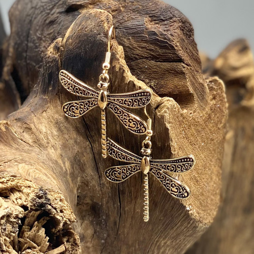 Antique Gold Dragonfly Earrings