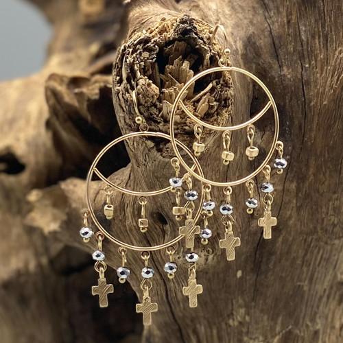 Gold Silver Bead Cross Charm Earrings
