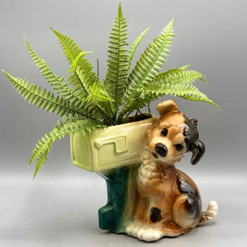 Vintage Puppy Mailbox Planter