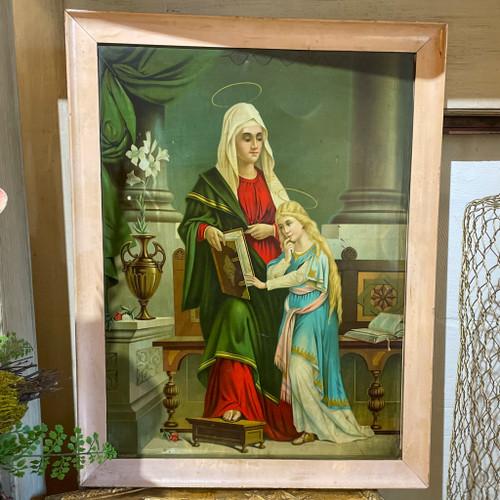 Vintage Tin Framed St. Anne & Mary Wall Decor
