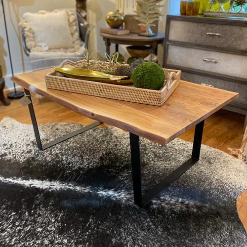 Iron & Live Edge Acacia Wood Table