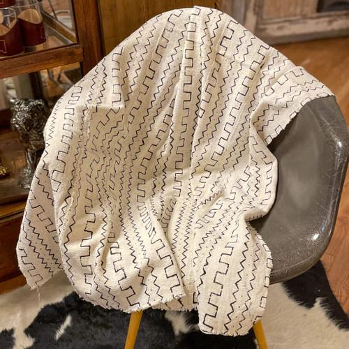 White Patterns Mud Cloth Blanket