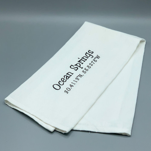 Ocean Springs Longitute / Latitude Tea Towel