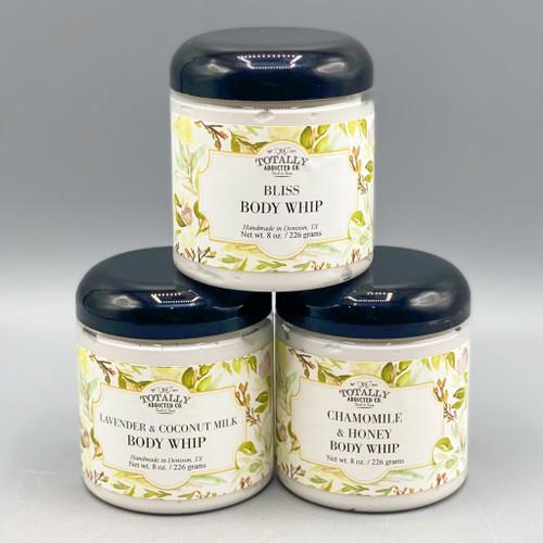 Chamomile & Honey Body Whip, Lavender & Coconut Milk Body Whip, Bliss Body Whip
