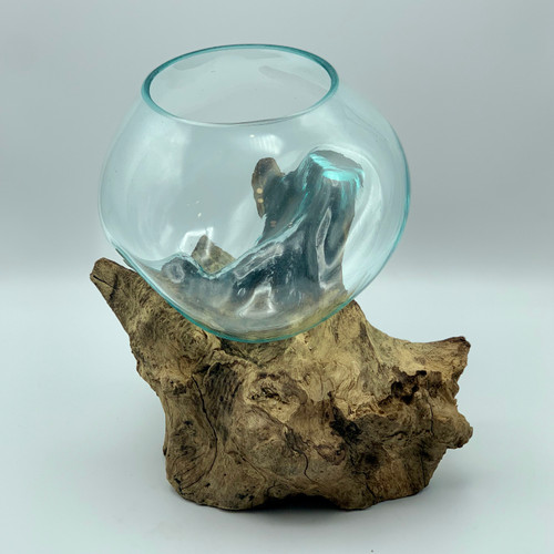 Hand Blown Glass Bowl on Driftwood