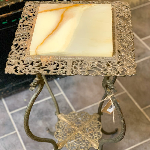 Vintage Brass Blend Stand with Marble Top