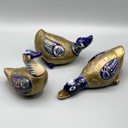Vintage Ducks, Brass & Enamel, Talavera