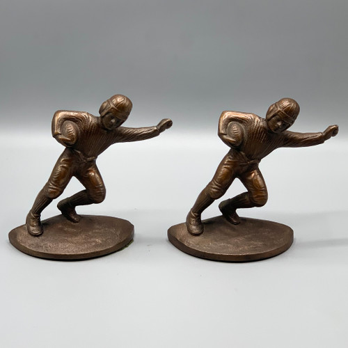 Antique Hubley Cast Iron Football Player Bookends
