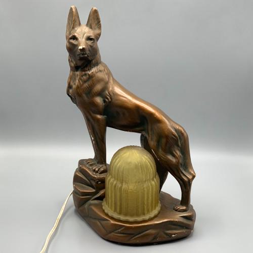 Vintage Dog Chalk TV Lamp