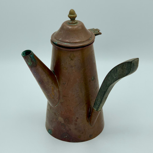 Vintage Copper Coffee Pot with Wooden Handle