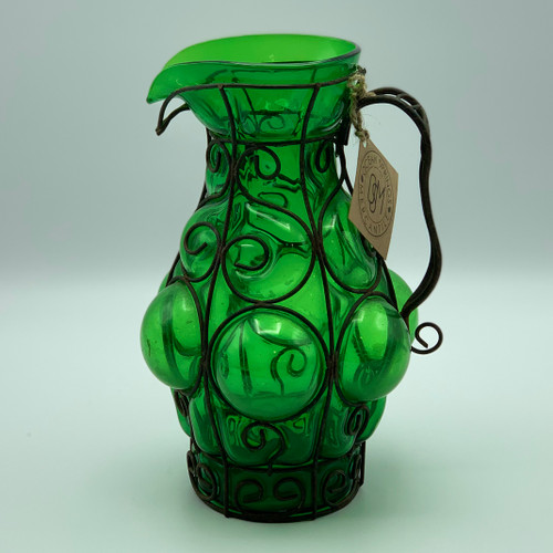 Green Glass & Wire Pitcher