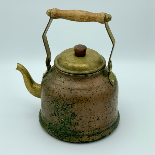 Vintage Copper / Brass Tea Kettle with Wood Handle