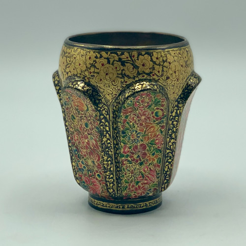 Antique Hand-Painted Brass Decorative Cup