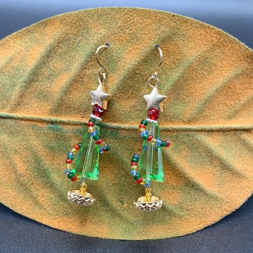 Bead Wrapped Glass Xmas Tree Earrings