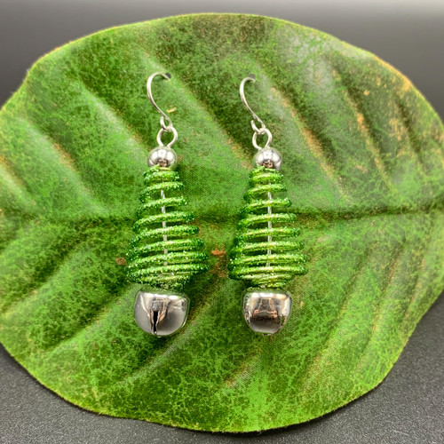 Green Coil Xmas Tree earrings with bell