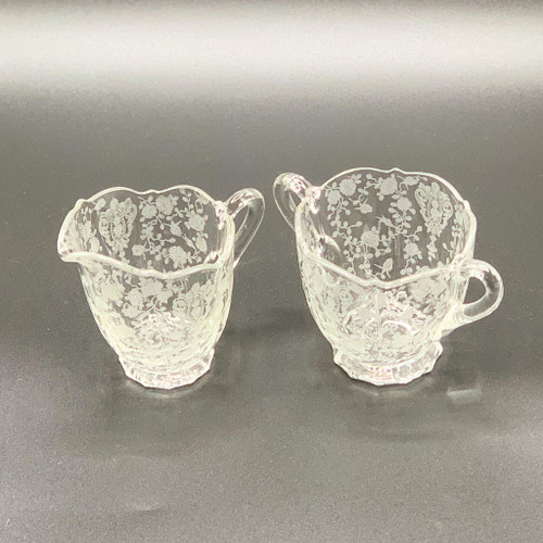 Cambridge Glass Rose Point Cream & Sugar Set