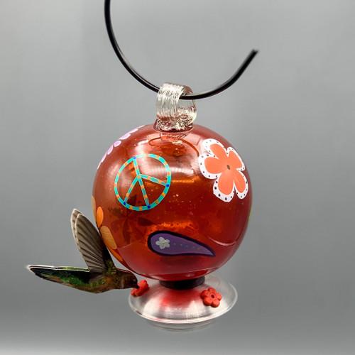 Round Hummingbird Feeder Peace & Love, Red