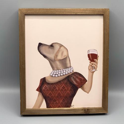 Lady 1, Dog with Wine Wall Decor