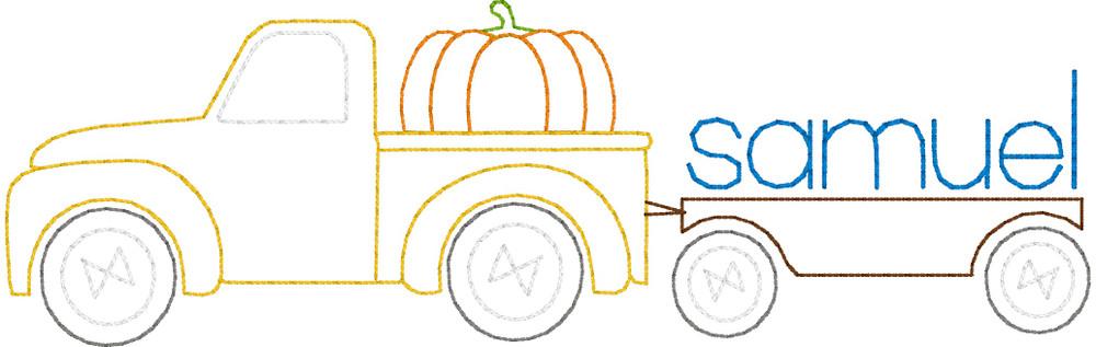 Pumpkin Truck Pulling Trailer