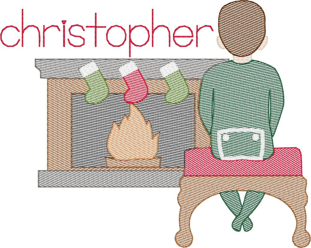 Waiting on Santa Boy Quick Stitch Embroidery