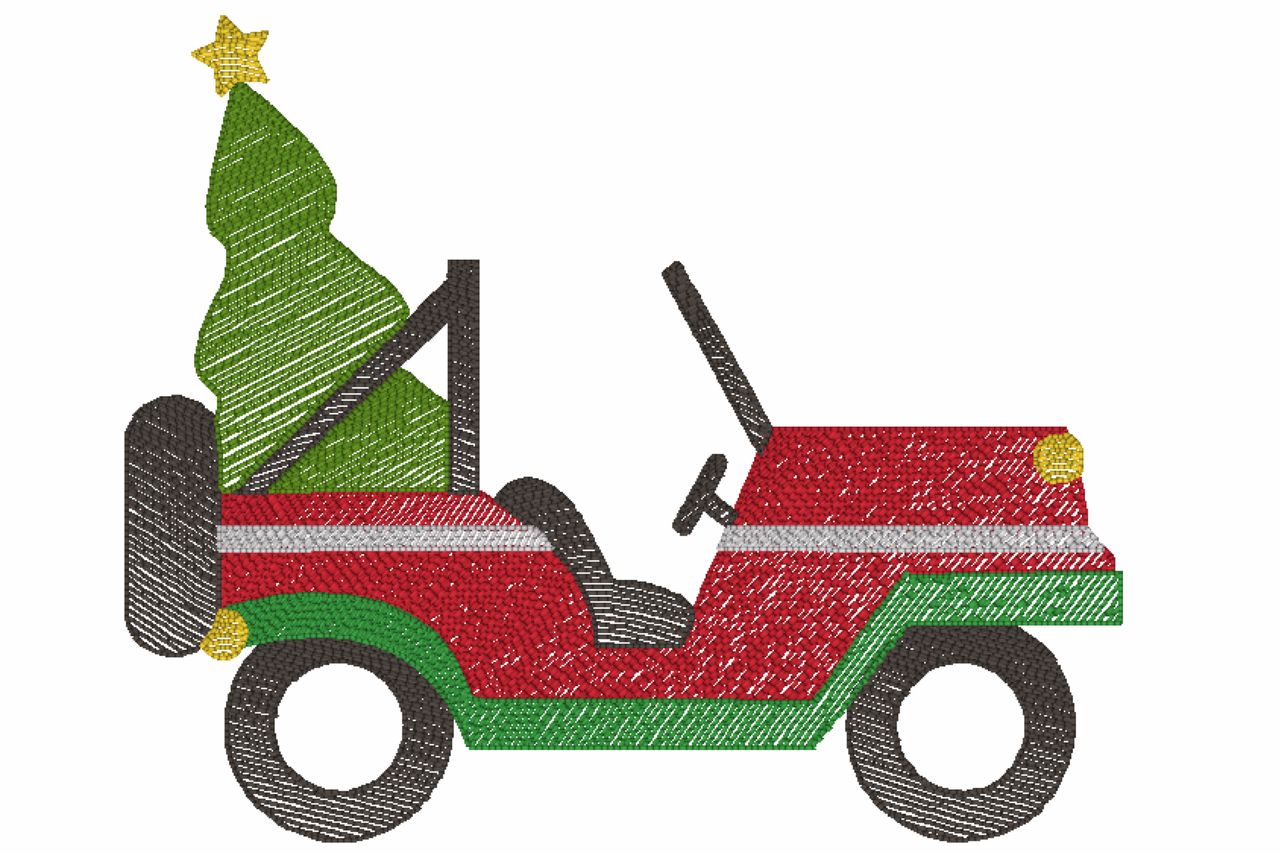 Christmas Jeep.Christmas Jeep Quick Stich Embroidery