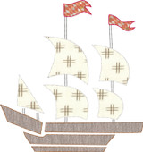 Choppy Christopher Columbus Ship Applique Embroidery