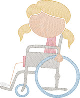 Girl 1 in Wheelchair(Add On for Family) Quick Stitch Embroidery