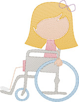 Girl 2 in Wheelchair(Add On for Family) Quick Stitch Embroidery