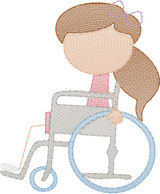 Girl 3 in Wheelchair(Add On for Family) Quick Stitch Embroidery