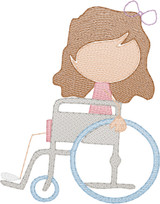 Girl 4 in Wheelchair(Add On for Family) Quick Stitch Embroidery