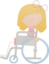 Girl 5  in Wheelchair(Add On for Family) Quick Stitch Embroidery