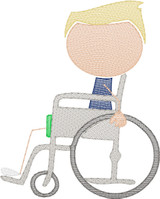 Boy 2 in Wheelchair(Add On for Family) Quick Stitch Embroidery
