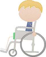 Boy 3  in Wheelchair(Add On for Family) Quick Stitch Embroidery