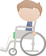 Boy 4  in Wheelchair(Add On for Family) Quick Stitch Embroidery
